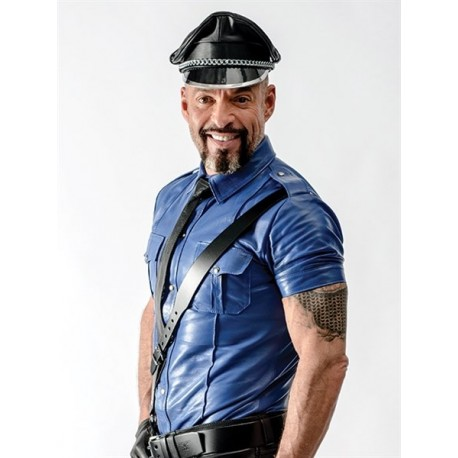 Mister B Sheep Leather Police Shirt Blue camicia in pelle