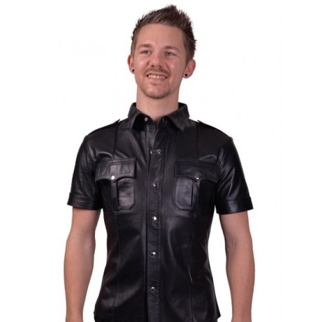 Mister B Sheep Leather Police Shirt Black camicia in pelle