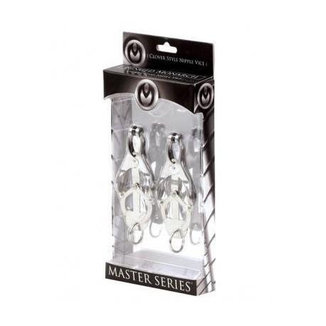 Master Series Ringed Monarch Clover Style Nipple Vice Chrome tit toys coppia di pinze tortura capezzoli