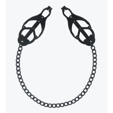 Master Series Monarch Noir Nipple Vice Black tit toys coppia di pinze tortura capezzoli con catena