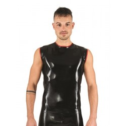 Mister B Rubber Sleeveless T-Shirt Black Red smanicata in rubber gomma