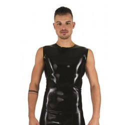 Mister B Rubber Sleeveless T-Shirt Black Yellow smanicata in rubber gomma