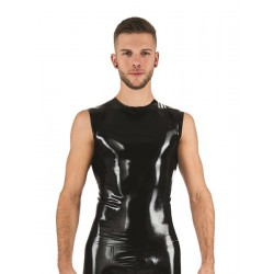 Mister B Rubber Sleeveless T-Shirt Black smanicata in rubber gomma