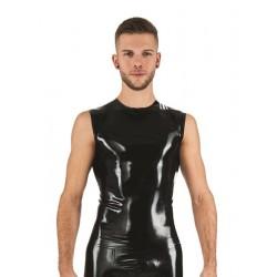 Mister B Rubber Sleeveless T-Shirt Black smanicata in rubber gomma