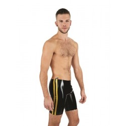 Mister B Rubber Fucker Shorts Black Yellow calzoncini in rubber gomma con zip