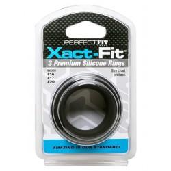 Perfect Fit Xact Fit 3 Ring Kit S M L Kit di 3 cockring in silicone di tre diametri diversi