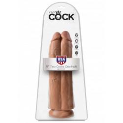 King Cock (11 inch) Two Cocks One Hole Caramel dildo XL doppio fallo realistico