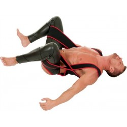 665 Leather Neoprene Sling Band Red Trim S/M harness solleva gambe in neoprene