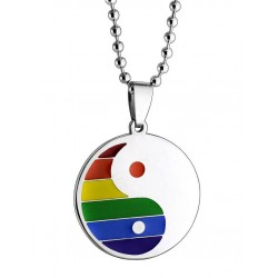 Rainbow Ying Yang Necklace Rainbow Gay Pride Arcobaleno collana con pendente
