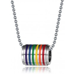 Rainbow Tube Necklace Rainbow Gay Pride Arcobaleno collana con pendente tubolare