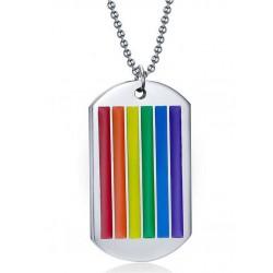 Rainbow Dog Tag Necklace Rainbow Gay Pride Arcobaleno collana con pendente targhetta
