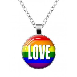 Love Rainbow Necklace Rainbow Gay Pride Arcobaleno collana con pendente