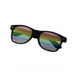 Rainbow Sunglasses Black occhiali in metallo forato rainbow gay pride arcobaleno