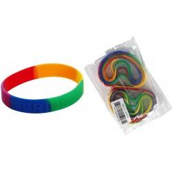 Rainbow Pride Bracelet Silicone 1/10 confezione di 10 braccialetti gay pride rainbow arcobaleno in silicone