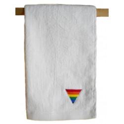 Rainbow Triangle Towel White 40 x 66 cm. asciugamano rainbow gay pride arcobaleno