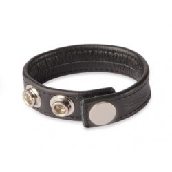Black Label 3 Snap Leather Cock Ring Black cockring nero in pelle con tre clips