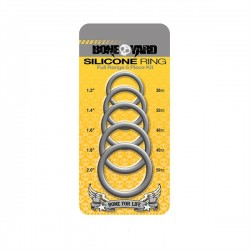 Boneyard Silicone Cock Ring 5 Piece Kit Grey 5 cockrings di 5 differenti diametri