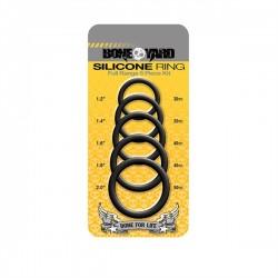 Boneyard Silicone Cock Ring 5 Piece Kit Black 5 cockrings di 5 differenti diametri