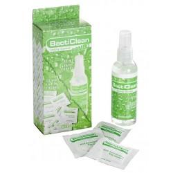 Dansex Water BactiClean Combo Clean Kit 80ml + 20 Tissue spray + tessuto per l'igiene dei sex toys
