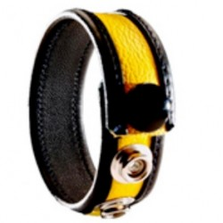 Black Label 3 Snap Leather Cock Ring Black Yellow cocking in pelle con tre clips