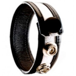 Black Label 3 Snap Leather Cock Ring Black White cocking in pelle con tre clips