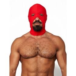 Mister B Lycra Cocksucker Hood Red maschera cappuccio in tessuto maschera cappuccio con fori per bocca, naso, occhi