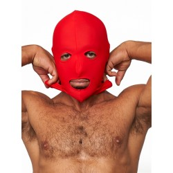 Mister B Lycra Hood Eyes and Mouth Open Red maschera cappuccio in tessuto