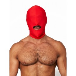 Mister B Lycra Hood Mouth Open Only Red maschera cappuccio con foro solo per bocca
