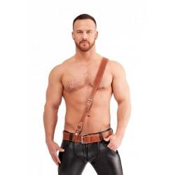 Mister B Leather Sam Browne Belt Stitched Brown bretella unica trasversale colore marrone
