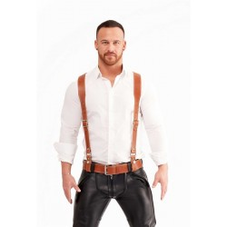 Mister B Leather Braces Brown bretelle in pelle colore marrone