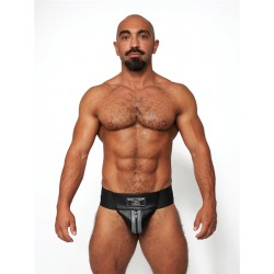 Mister B Leather Premium Jockstrap Black Grey sospensorio in leather pelle con zip