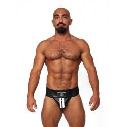 Mister B Leather Premium Jockstrap Black White sospensorio in leather pelle con zip