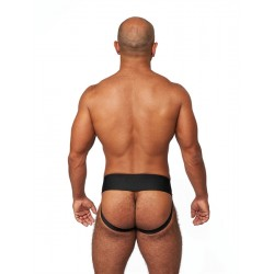 Mister B Leather Premium Jockstrap Black Red sospensorio in leather pelle con zip