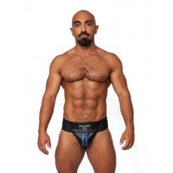 Mister B Leather Premium Jockstrap Black Blue sospensorio in leather pelle con zip