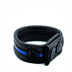 665 Neoprene Racer Ball Strap Blue cockring & bracciale da polso in neoprene