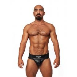 Mister B Leather Premium Jockstrap Black Black sospensorio in leather pelle con zip