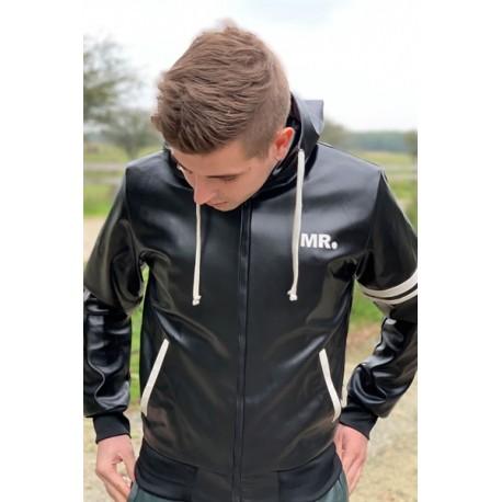 Mr Riegillio MR Black Jacket Full Zip giacca tuta con zip in pelle artificiale