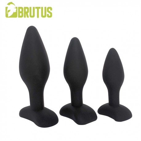 Brutus 3 Plug Ass Training Kit Silicone Plugs S M L Black kit di 3 plug dilatatori anali in silicone