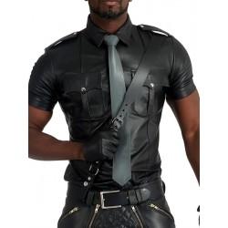 Mister B Leather Tie Stitched Grey cravatta in pelle grigio