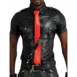 Mister B Leather Tie Stitched Red cravatta in pelle rosso
