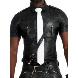 Mister B Leather Tie Stitched White cravatta in pelle bianco