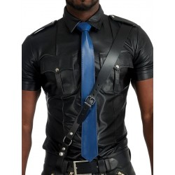 Mister B Leather Tie Stitched Blue cravatta in pelle blue