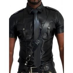Mister B Leather Tie Stitched Black cravatta in pelle nero