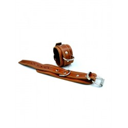 Mister B Leather Wrist Restraints Stitched Brown coppia di bracciali per polsi in pelle per restrizioni