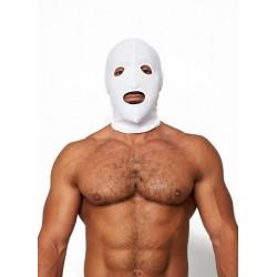Mister B Lycra Hood Eyes and Mouth Open White maschera cappuccio con fori per gli occhi e bocca