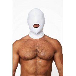 Mister B Lycra Cocksucker Hood White maschera cappuccio con foro per la bocca