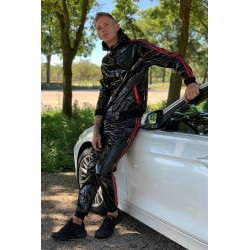 Mr Riegillio PVC Tracksuit Pants Red Stripes pantaloni tuta con zip in PVC lucido con righe