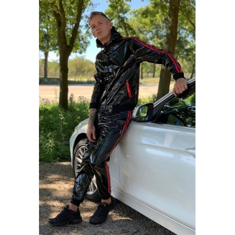 Mr Riegillio PVC Tracksuit Pants Red Stripes pantaloni tuta con zip in PVC lucido con riche
