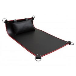 Mister B Four Point Leather Sling Red Piping sling con cuscino leather in pelle nero e bordino rosso