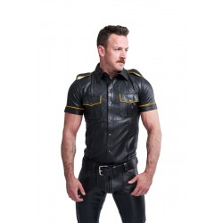 Mister B Leather Police Shirt Short Sleeves Yellow Piping camicia stile polizia in pelle